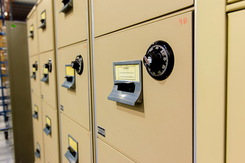 Records Management secure storage - combination lock secure files